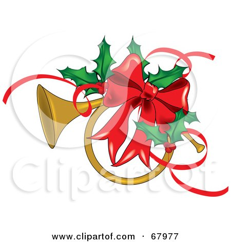 Royalty-Free (RF) Clipart Illustration of a Brass French Horn Adorned With A Red Bow And Christmas Holly by Pams Clipart