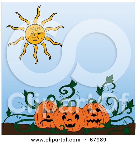Royalty-Free (RF) Clipart Illustration of a Sun Shining Down On Jackolanterns In A Pumpkin Patch by Pams Clipart