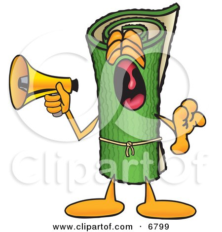 Clipart Picture of a Green Carpet Mascot Cartoon Character Screaming Into a Megaphone by Toons4Biz