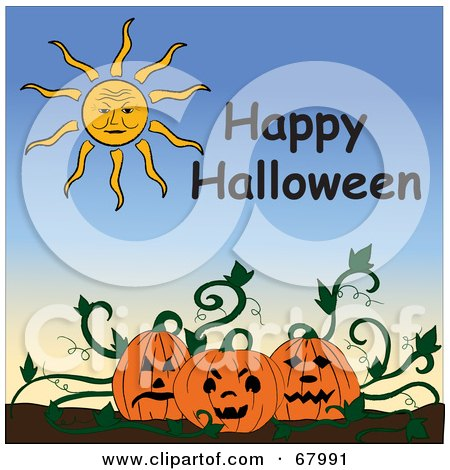 Royalty-Free (RF) Clipart Illustration of a Sun And Happy Halloween Text Above A Pumpkin Patch by Pams Clipart