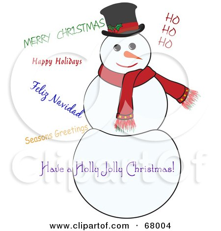 Royalty-Free (RF) Clipart Illustration of a Jolly White Snowman With Christmas Greetings by Pams Clipart