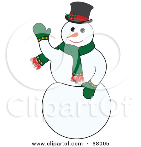 Royalty-Free (RF) Clipart Illustration of a Jolly White Snowman Wearing A Green Scarf And Mittens by Pams Clipart