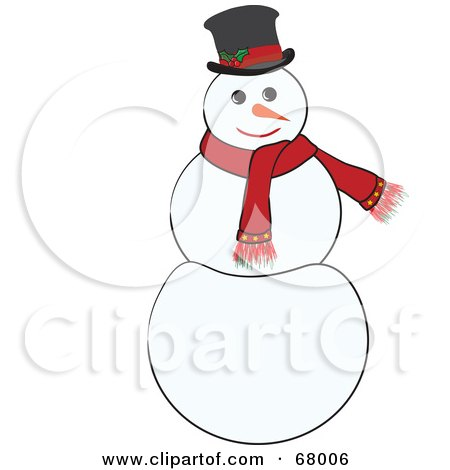 Royalty-Free (RF) Clipart Illustration of a Jolly White Snowman Wearing A Red Scarf And Hat by Pams Clipart