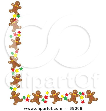 royalty free rf clipart illustration of a corner border of happy rh clipartof com free clipart gingerbread house free clipart gingerbread man outline