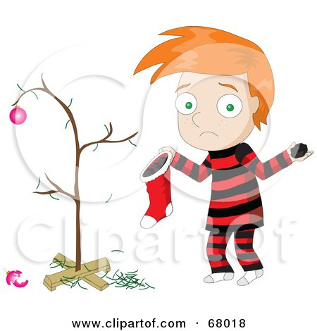 Royalty-Free (RF) Clipart Illustration of a Sad Red Haired Boy Discovering Coal In His Christmas Stocking by Pams Clipart