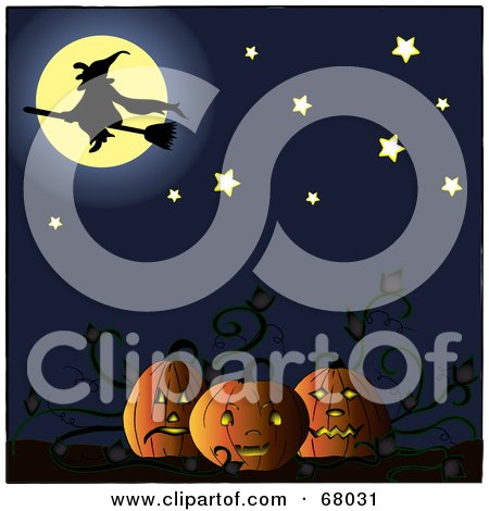 Royalty-Free (RF) Clipart Illustration of a Silhouetted Witch In Front Of A Full Moon, Above A Pumpkin Patch by Pams Clipart