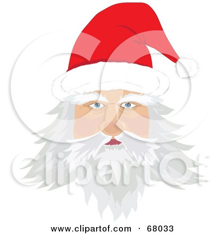 Royalty-Free (RF) Clipart Illustration of Santa's Face With Long White Hair, A Beard And Mustach, Wearing A Red Hat by Pams Clipart
