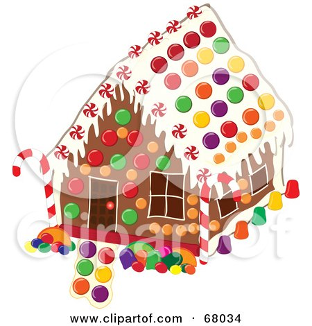 Royalty-Free (RF) Clipart Illustration of a Christmas Gingerbread House Decorated With Colorful Candies by Pams Clipart