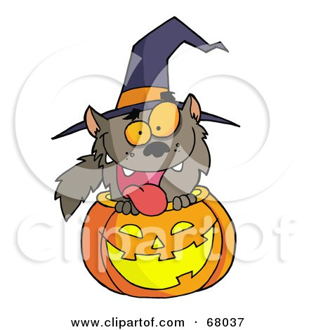 Royalty-Free (RF) Clipart Illustration of a Happy Werewolf In A Carved Halloween Pumpkin by Hit Toon