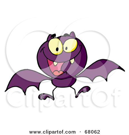 Royalty-Free (RF) Clipart Illustration of a Hyper Purple Vampire Bat by Hit Toon