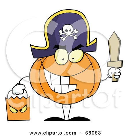 Royalty-Free (RF) Clipart Illustration of a Pumpkin Character Trick Or Treating In A Pirate Costume by Hit Toon