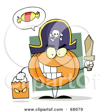 Royalty-Free (RF) Clipart Illustration of a Pumpkin Character Thinking Of Candy, Trick Or Treating In A Pirate Costume by Hit Toon