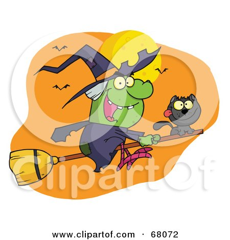Royalty-Free (RF) Clipart Illustration of a Wicked Halloween Witch And Cat Flying By Bats And A Full Moon On A Broom Stick by Hit Toon