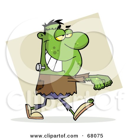 Royalty-Free (RF) Clipart Illustration of a Green Frankenstein With His Arms Out Over Tan by Hit Toon