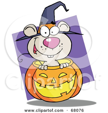 Royalty-Free (RF) Clipart Illustration of a Happy Mouse Popping Out Of A Carved Halloween Pumpkin On Purple by Hit Toon