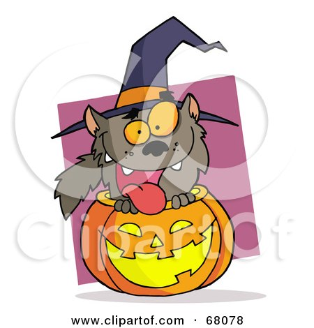 Royalty-Free (RF) Clipart Illustration of a Happy Werewolf Popping Out Of A Carved Halloween Pumpkin On Pink by Hit Toon