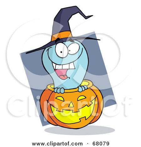 Royalty-Free (RF) Clipart Illustration of a Happy Blue Ghost Popping Out Of A Carved Halloween Pumpkin On Gray by Hit Toon