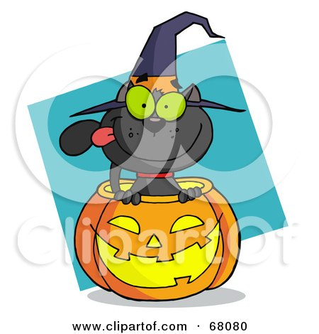 Royalty-Free (RF) Clipart Illustration of a Black Cat Sitting Inside Of A Pumpkin And Wearing With Hat, Over A Turquoise Diamond by Hit Toon