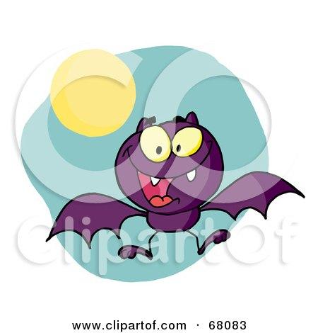 Royalty-Free (RF) Clipart Illustration of a Hyper Purple Flying Vampire Bat Near A Full Moon by Hit Toon