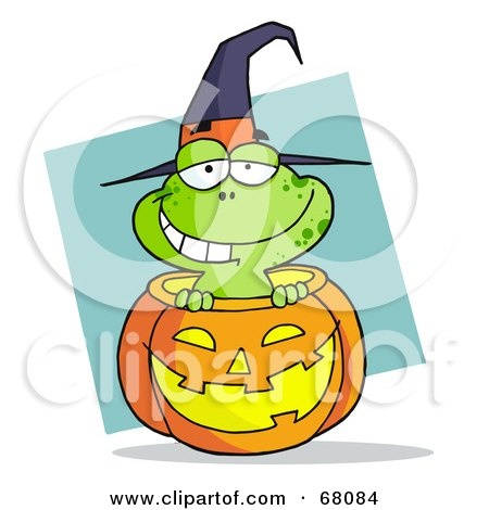 Royalty-Free (RF) Clipart Illustration of a Happy Frog Popping Out Of A Carved Halloween Pumpkin On Blue by Hit Toon