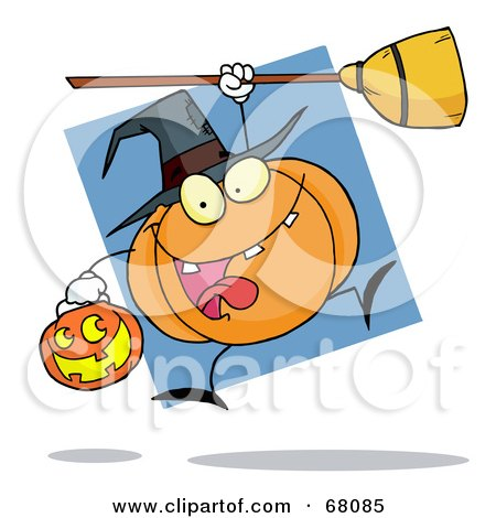 Royalty-Free (RF) Clipart Illustration of a Jumping Pumpkin Character Witch With A Jackolantern And Broom by Hit Toon