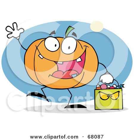 Royalty-Free (RF) Clipart Illustration of a Waving Pumpkin Character Carrying A Green Trick Or Treat Bag by Hit Toon