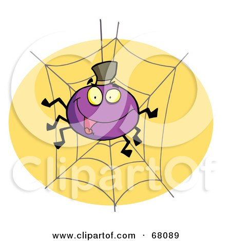 Royalty-Free (RF) Clipart Illustration of a Purple Halloween Spider On A Web by Hit Toon