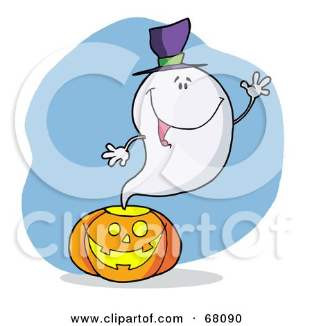 Royalty-Free (RF) Clipart Illustration of a Friendly Ghost Wearing A Hat, Waving And Emerging From A Halloween Pumpkin by Hit Toon