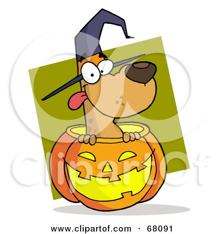 Royalty-Free (RF) Clipart Illustration of a Happy Dog Popping Out Of A Carved Halloween Pumpkin On Green by Hit Toon
