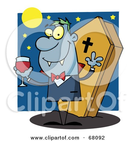 Royalty-Free (RF) Clipart Illustration of a Vampire Drinking A Glass Of Blood In Front Of His Coffin At Night by Hit Toon