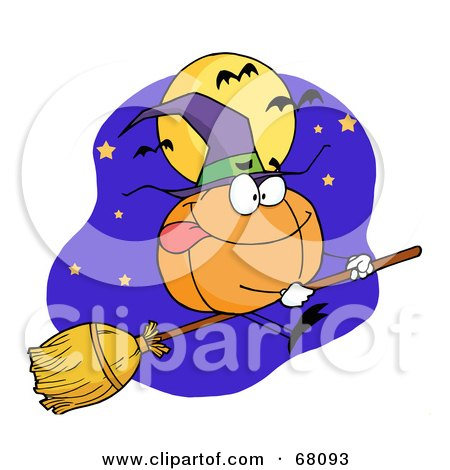 Royalty-Free (RF) Clipart Illustration of a Pumpkin Character Witch Flying By A Full Moon And Bats On A Broom Stick by Hit Toon