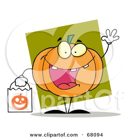 Royalty-Free (RF) Clipart Illustration of a Waving Pumpkin Character Carrying A White Trick Or Treat Bag by Hit Toon