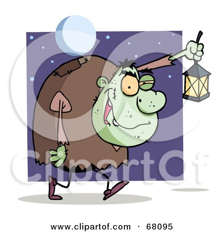 Royalty-Free (RF) Clipart Illustration of a Green Igor Walking With A Lantern At Night by Hit Toon