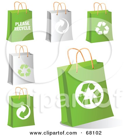 Royalty-Free (RF) Clipart Illustration of a Digital Collage Of Gray And Green Eco Shopping Bags by Pushkin