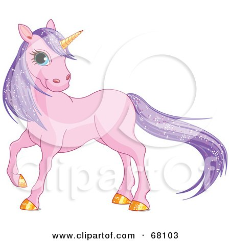 Royalty-Free (RF) Clipart Illustration of a Purple Unicorn With Sparkling Hair And A Golden Horn by Pushkin