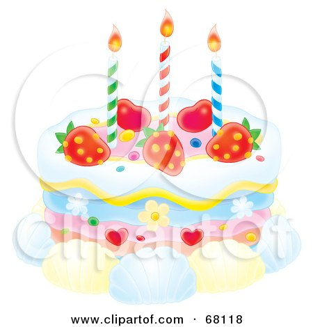 Royalty-Free (RF) Clipart Illustration of a Birthday Cake With Candles, Strawberries, Hearts, Flowers And Shells by Alex Bannykh