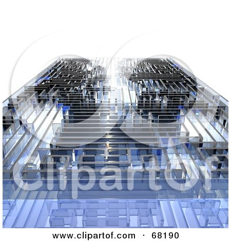 Royalty-Free (RF) Clipart Illustration of a Glassy Blue 3d Maze, On White by MacX