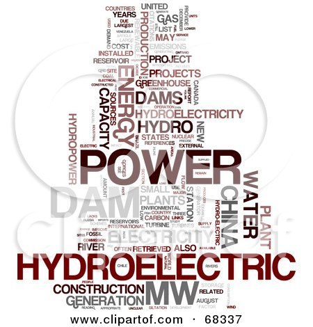 Royalty-Free (RF) Clipart Illustration of a Hydroelectric Word Collage - Version 1 by MacX