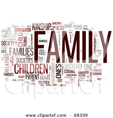 Royalty-Free (RF) Clipart Illustration of a Family Word Collage - Version 2 by MacX
