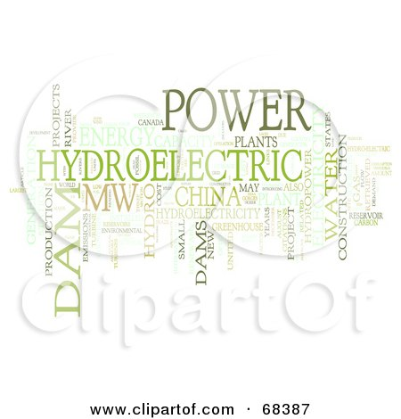 Royalty-Free (RF) Clipart Illustration of a Hydroelectric Word Collage - Version 2 by MacX