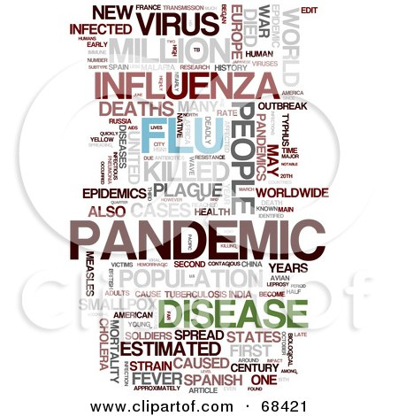 Royalty-Free (RF) Clipart Illustration of a Flu Pandemic Word Collage - Version 1 by MacX