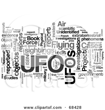 Royalty-Free (RF) Clipart Illustration of a UFO Word Collage - Version 4 by MacX