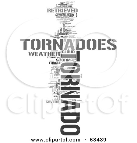 Royalty-Free (RF) Clipart Illustration of a Tornado Word Collage - Version 2 by MacX
