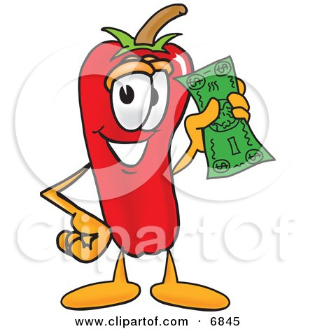 Chili Pepper Mascot Cartoon Character Holding a Dollar Bill Posters, Art Prints