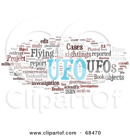 Royalty-Free (RF) Clipart Illustration of a UFO Word Collage - Version 2 by MacX