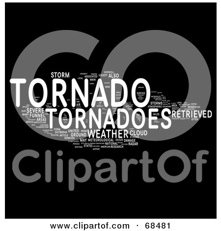 Royalty-Free (RF) Clipart Illustration of a Tornado Word Collage - Version 1 by MacX
