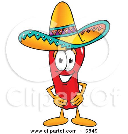 Chili Pepper Mascot Cartoon Character Wearing a Sombrero Posters, Art Prints