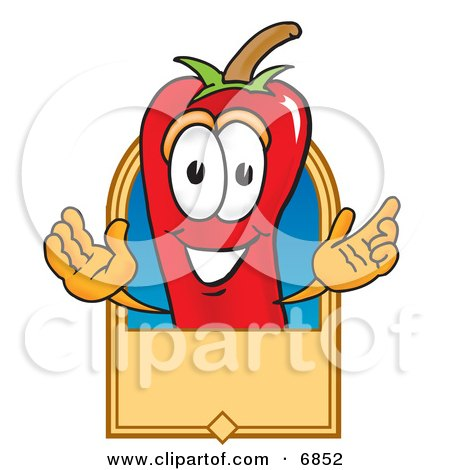Chili Pepper Mascot Cartoon Character With a Blank Tan Label Posters, Art Prints