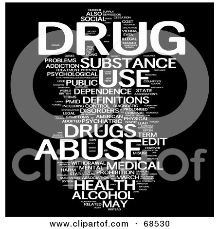 Royalty-Free (RF) Clipart Illustration of a Drug Word Collage - Version 1 by MacX