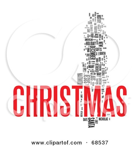 Royalty-Free (RF) Clipart Illustration of a Christmas Word Collage ...